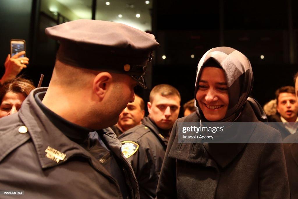 Turkish Family Minister Fatma Betul Sayan Kaya arrives Manhattan borough of New York, United States on March 13, 2017.