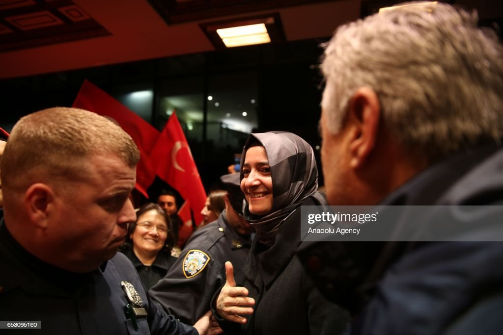 Turkish Family Minister Fatma Betul Sayan Kaya arrives Manhattan borough of New York, United States on March 13, 2017.