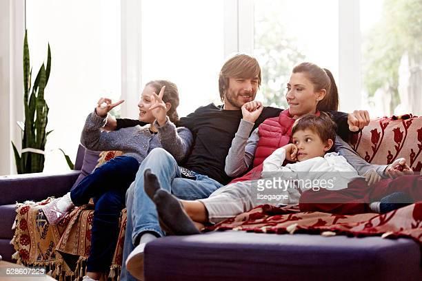 Turkish family watching tv