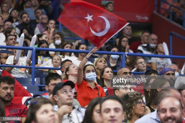 Turkish fans support their team during the CEV Women's European Volleyball Championship semi-final match between Serbia and Turkey at Stark arena in...