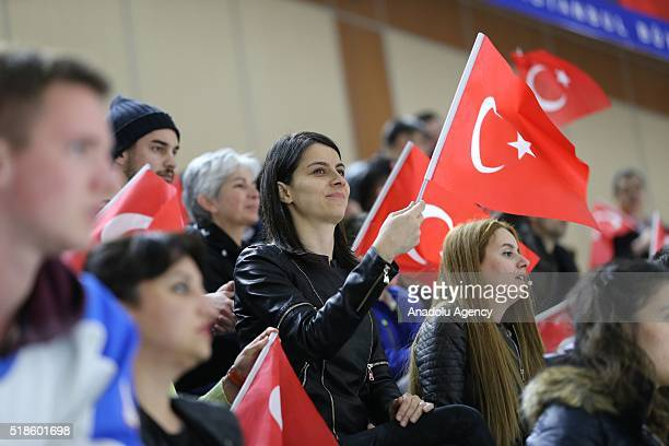Turkish fans support their team during the IIHF Ice Hockey World Championships Division III match between Turkey and Georgia at Silivrikapi Ice Rink...