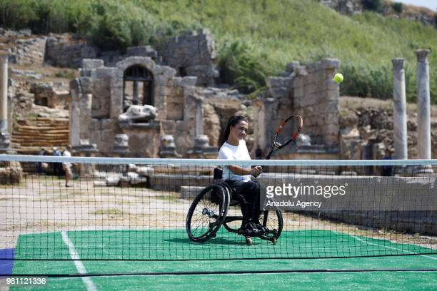 Turkish female Paralympic wheelchair tennis player Busra Un is seen in her exhibition match against Dusan Lajovic during the symbolic opening...