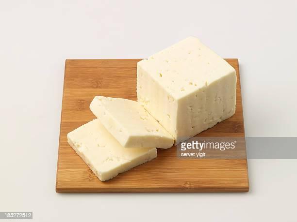 Turkish Feta Cheese On Chopping Board