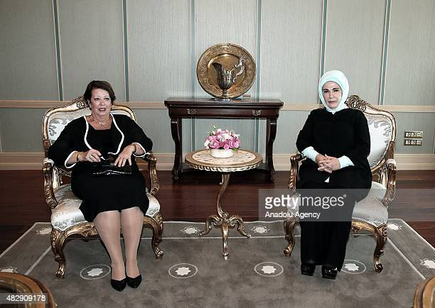 Turkish First lady Emine Erdogan and GovernorGeneral of Australia Peter Cosgrove's wife Lynne Cosgrove are seen during a meeting at the Presidential...