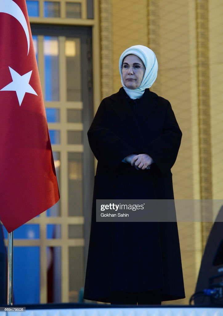 Turkish First Lady Emine Erdogan listens President Erdogan's victory speech to his supporters at the Presidential Palace on April 17, 2017 in Ankara Turkey. Erdogan declared victory in Sunday's historic referendum that will grant sweeping powers to the presidency, hailing the result as a 'historic decision. 51.4 per cent per cent of voters had sided with the 'Yes' campaign, ushering in the most radical change to the country's political system in modern times.Turkey's main opposition calls on top election board to annul the referendum. OSCE observers said that a Turkish electoral board decision to allow as valid ballots that did not bear official stamps undermined important safeguards against fraud.