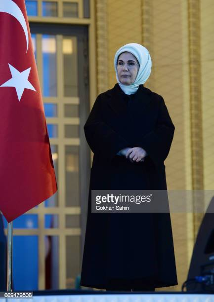Turkish First Lady Emine Erdogan listens President Erdogan's victory speech to his supporters at the Presidential Palace on April 17 2017 in Ankara...