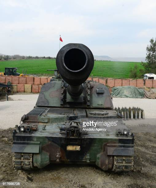 Turkish Firtina howitzer produced with local means is seen as they continue to help for hitting PYD/ PKK terrorist members targets by the help of...