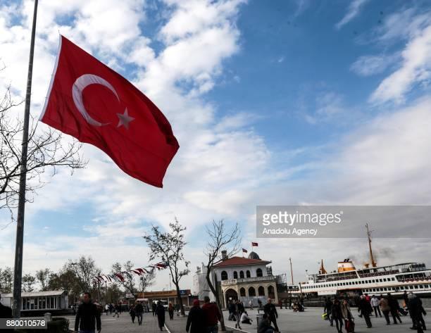 Turkish flag flies at halfstaff in Istanbul Turkey on November 27 in tribute to alRawdah mosque bombing in the town of Bir alAbed west of El Arish in...