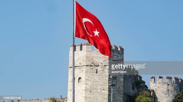 Turkish Flag in Front of Edirnekapi Wall Captured from the Street in Istanbul