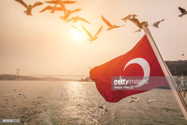 turkish flag on a ship on the background of the bosphorus bridge - turquie photos et images de collection