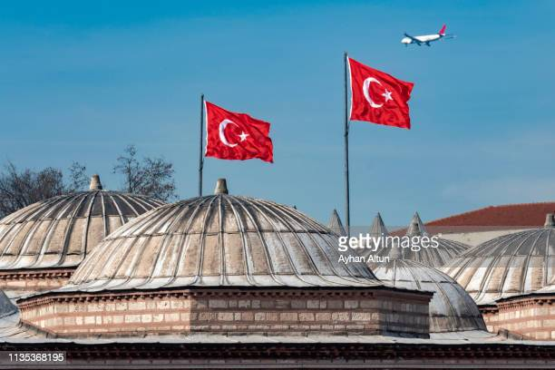 turkish flag (flag of the republic of turkey) - ottoman empire stock pictures, royalty-free photos & images