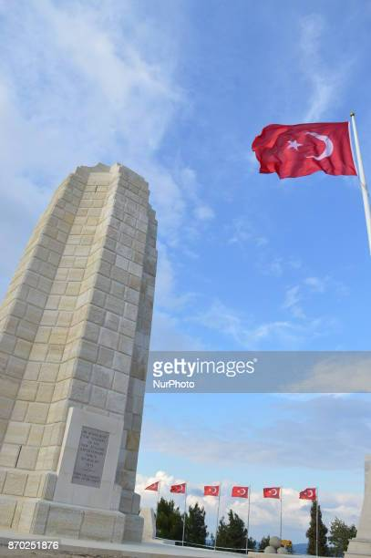 A Turkish flag waves over a monument in honour of New Zealand soldiers at Chunuk Bair on the Gallipoli peninsula in Canakkale Turkey on November 4...