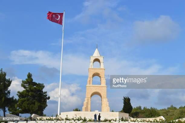 A Turkish flag waves over the 57th Infantry Regiment Martyrdom of Turkey on the Gallipoli peninsula in Canakkale Turkey on November 4 2017 ''Turkey...