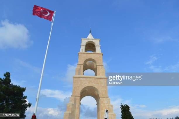 A Turkish flag waves over the 57th Infantry Regiment Martyrdom of Turkey on the Gallipoli peninsula in Canakkale Turkey on November 4 2017 ''Turkey...