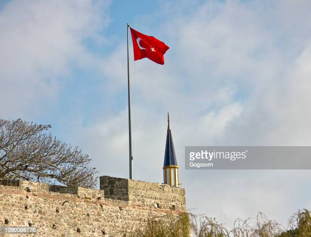Turkish flag with castle and mosque