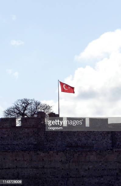 Turkish flag with castle