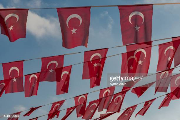 Turkish Flags against the sky