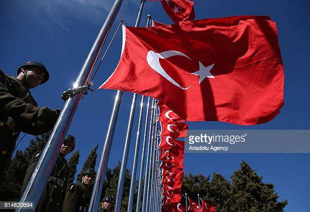 Turkish flags are seen at the Historical Gallipoli field during the rehearsals of the ceremony which will be held for the 101st anniversary of Battle...