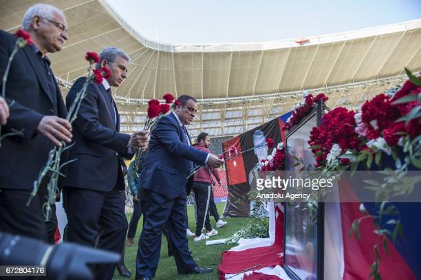 Turkish Football Federation member of board Ali Dusmez President of Gaziantepsor Ibrahim Kizil lay a flowers during a memorial ceremony held for...