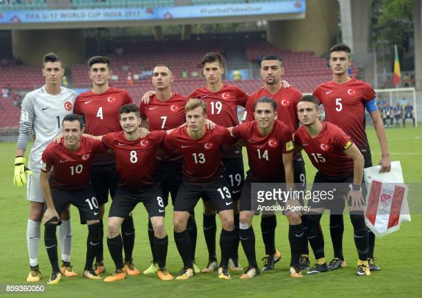 Turkish footballers pose for a photo during the ceremony within a 2017 FIFA U17 World Cup football match between Turkey U17 and Mali U17 in Mumbai...
