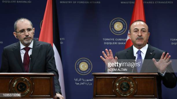 Turkish Foreign Affairs Minister Mevlut Cavusoglu and Jordan Foreign Affairs minister Ayman Safadi hold a joint press conference after they attended...