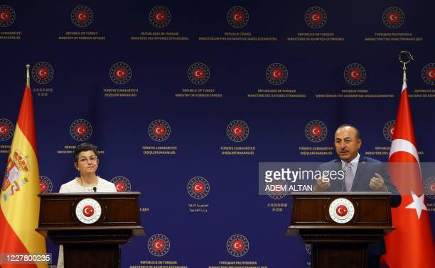 Turkish Foreign Affairs Minister Mevlut Cavusoglu and Spanish Foreign Affairs and European Union and Cooperation Minister Arancha Gonzalez Laya hold...