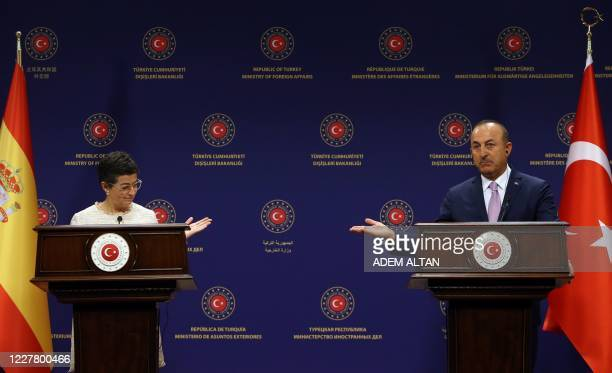Turkish Foreign Affairs Minister Mevlut Cavusoglu and Spanish Foreign Affairs and European Union and Cooperation Minister Arancha Gonzalez Laya...