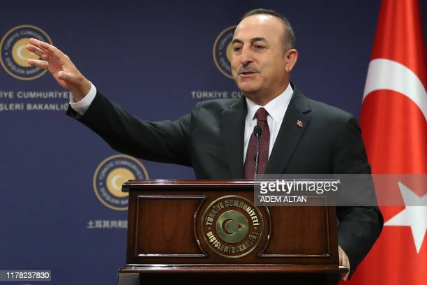 Turkish Foreign Affairs Minister Mevlut Cavusoglu gives a joint press conference after a meeting with his German counterpart at the Turkish Foreign...