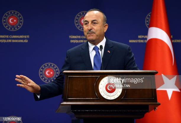 Turkish Foreign Affairs Minister Mevlut Cavusoglu holds a joint press conference with the German Foreign Affairs minister following their meeting at...