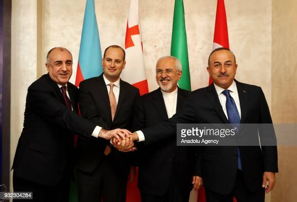Turkish Foreign Affairs Minister Mevlut Cavusoglu Iranian Foreign Minister Mohammad Javad Zarif Georgian Foreign Minister Mikheil Janelidze and...