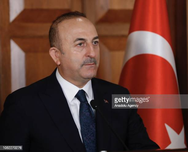 Turkish Foreign Affairs Minister Mevlut Cavusoglu is seen during joint press conference with Turkish Cypriot counterpart Kudret Ozersay in Ankara,...