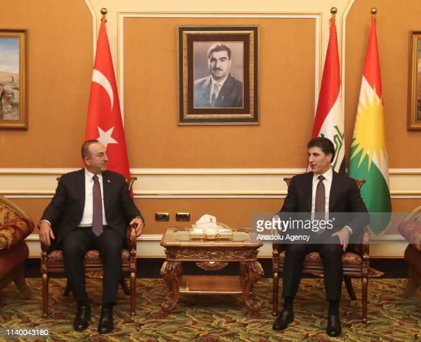 Turkish Foreign Affairs Minister Mevlut Cavusoglu meets Prime Minister of Iraqi Kurdish Regional Government Nechirvan Barzani in Erbil Iraq on April...