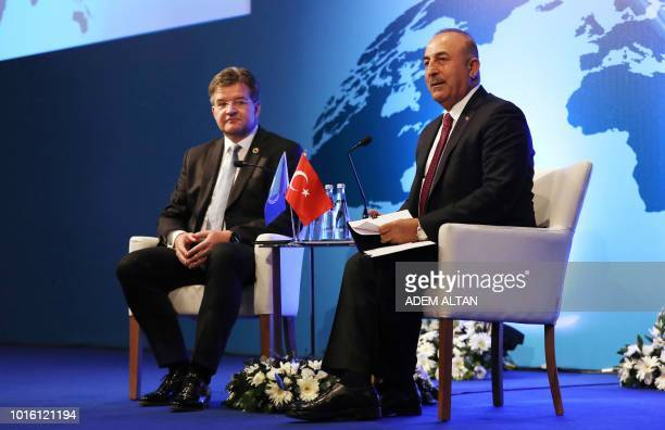 Turkish Foreign Affairs Minister Mevlut Cavusoglu meets with Slovakian Foreign Affairs Minister and President of the 72nd Session of the United...