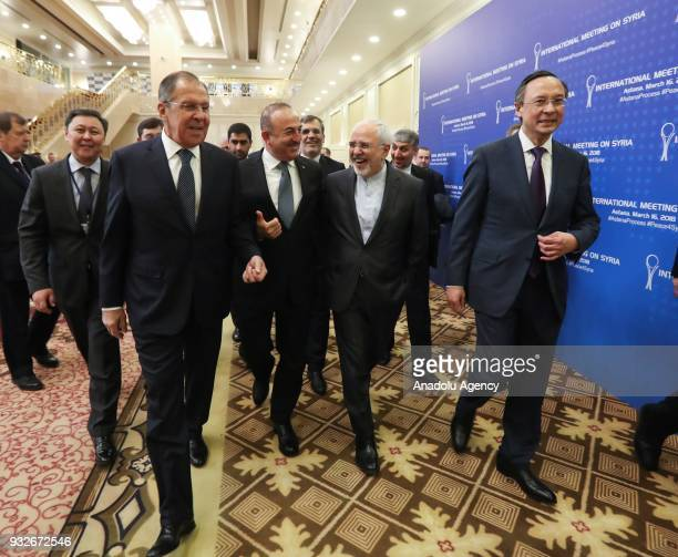 Turkish Foreign Affairs Minister Mevlut Cavusoglu Russian Foreign Minister Sergei Lavrov Kazakhstan's Foreign Minister Kairat Abdrakhmanov and...