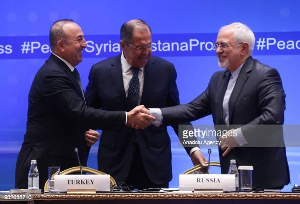 Turkish Foreign Affairs Minister Mevlut Cavusoglu Russian Foreign Minister Sergei Lavrov and Iranian Foreign Minister Mohammad Javad Zarif hold joint...