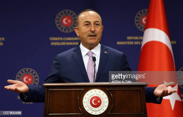 Turkish Foreign Affairs Minister Mevlut Cavusoglu speaks during a joint press conference with his Spanish counterpart following their meeting at the...