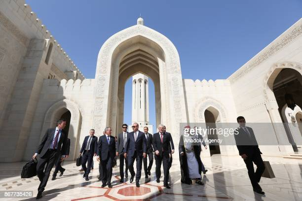 Turkish Foreign Affairs Minister Mevlut Cavusoglu visits Sultan Qaboos Grand Mosque one of the biggest mosque in Middle East during his visit in...