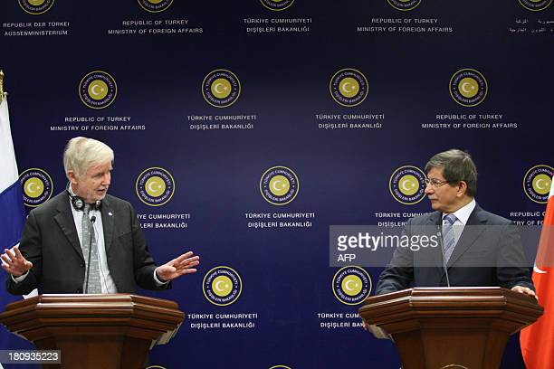 Turkish Foreign minister Ahmet Davutoglu and his Finnish counterpart Erkki Tuomioja give a press conference after talks in Ankara on September 18...