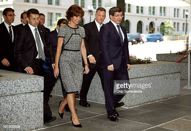 Turkish Foreign Minister HE Ahmet Davutoglu arrives at the US State Department June 1 2010 in Washington DC Davutoglu is set to meet with US...