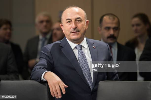 Turkish Foreign Minister Mevluet Cavusoglu attends the second day of the G20 Foreign Ministers meeting at the World Conference Center Bonn on...