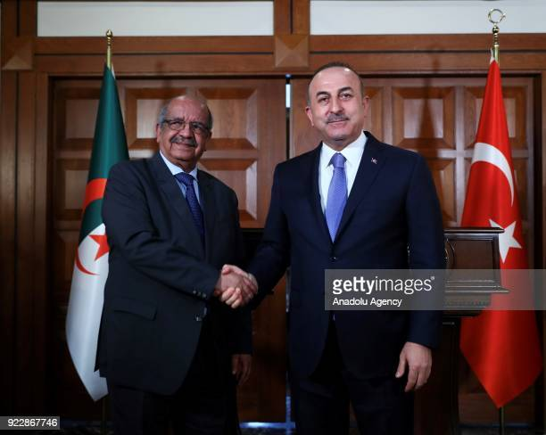 Turkish Foreign Minister Mevlut Cavusoglu and Algerian Foreign Minister Abdelkader Messahel hold a joint press conference following their meeting in...