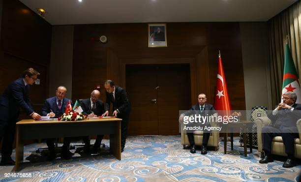 Turkish Foreign Minister Mevlut Cavusoglu and Algerian Foreign Minister Abdelkader Messahel sign a memorandum of understanding during signing...