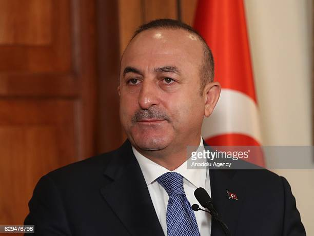 Turkish Foreign Minister Mevlut Cavusoglu and Czech Republic's Foreign Minister Lubomir Zaoralek hold a joint press conference after their meeting at...