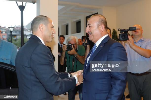 Turkish Foreign Minister Mevlut Cavusoglu and his Turkish Republic of Northern Cyprus counterpart Kudret Ozersay shake hands during their meeting at...