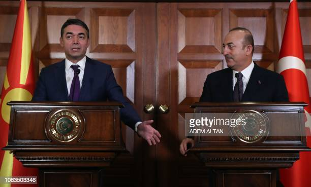 Turkish Foreign Minister Mevlut Cavusoglu and Macedonian Foreign Minister Nikola Dimitrov hold a joint press conference following their committee...