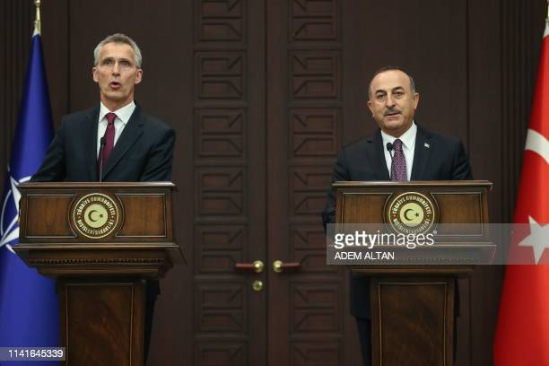 Turkish Foreign Minister Mevlut Cavusoglu and NATO Secretary General Jens Stoltenberg hold a joint press conference at Cankaya Palace in Ankara, on...