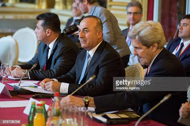 Turkish Foreign Minister Mevlut Cavusoglu and Secretary of State of the United States John Kerry attend Ministerial meeting about Syria in forma de...