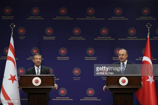 Turkish Foreign Minister Mevlut Cavusoglu and Turkish Cypriot Foreign Affairs Minister Tahsin Ertugruloglu hold a joint press conference after their...