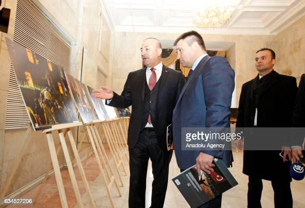Turkish Foreign Minister Mevlut Cavusoglu and Ukrainian Foreign Minister Pavlo Klimkin visit photography exhibition organized with the photographs...