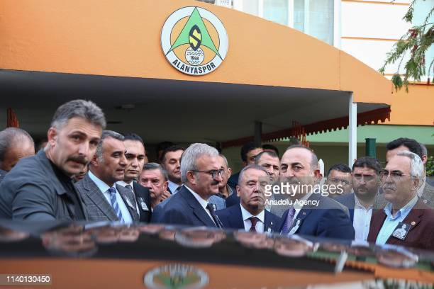 Turkish Foreign Minister Mevlut Cavusoglu attends a ceremony held for Czech striker of Turkish football club Alanyaspor Josef Sural at the club...
